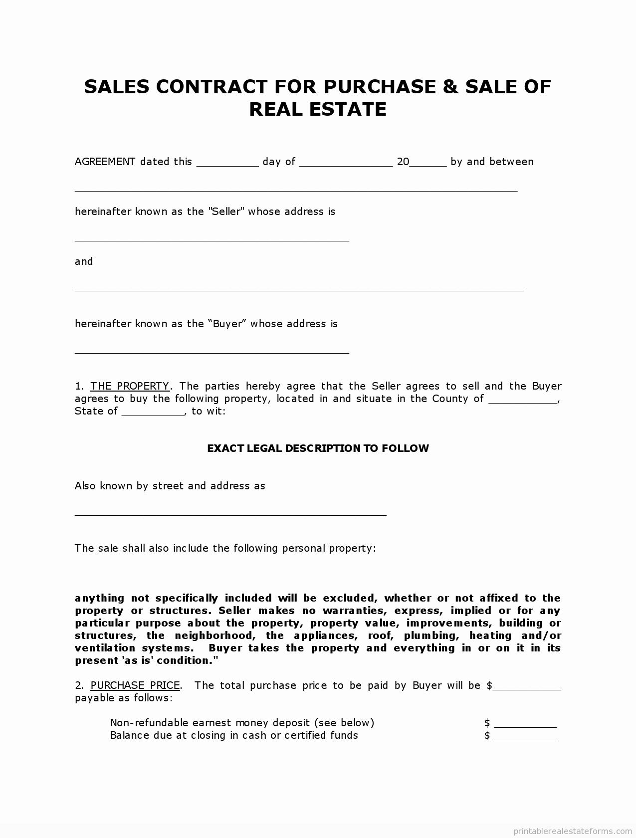 Example Of A Land Contract Unique Get High Quality Printable Simple Land Contract form
