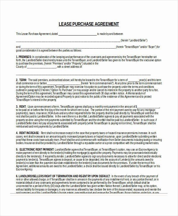 Example Of A Purchase Agreement Fresh 24 Lease Agreement forms In Doc