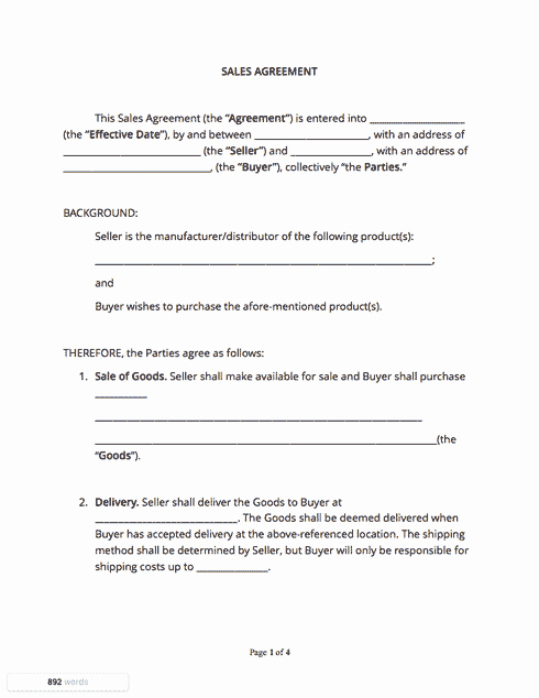 Example Of A Purchase Agreement Luxury Sales Contract Template Free Sample Docsketch