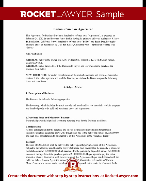 Example Of A Purchase Agreement New Business Purchase Agreement Contract form with Template