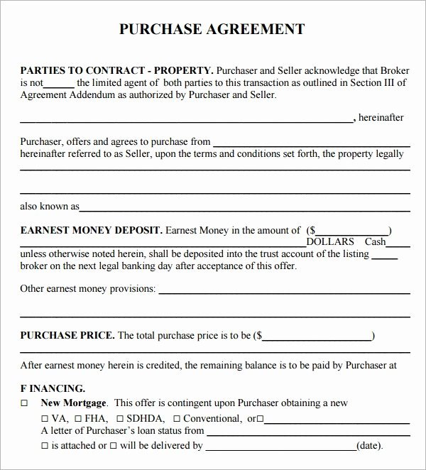 Example Of A Purchase Agreement New Purchase Agreement 15 Download Free Documents In Pdf Word