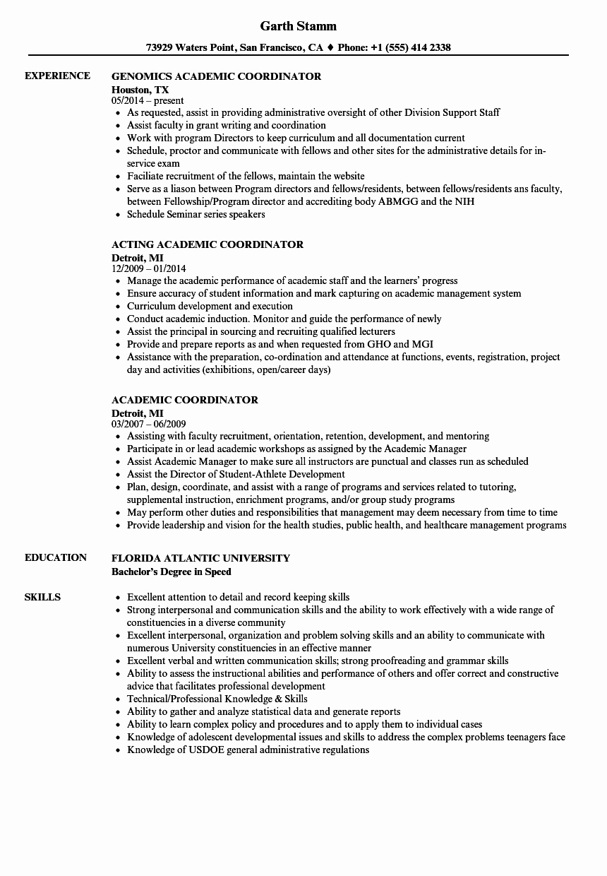 Example Of Academic Resume Beautiful Academic Coordinator Resume Samples
