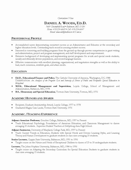 Example Of Academic Resume Fresh Academic Cv Example Teacher Professor