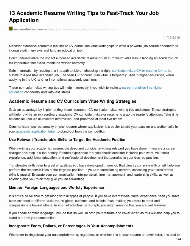 Example Of Academic Resume Inspirational 13 Academic Resume Writing Tips to Fast Track Your Job