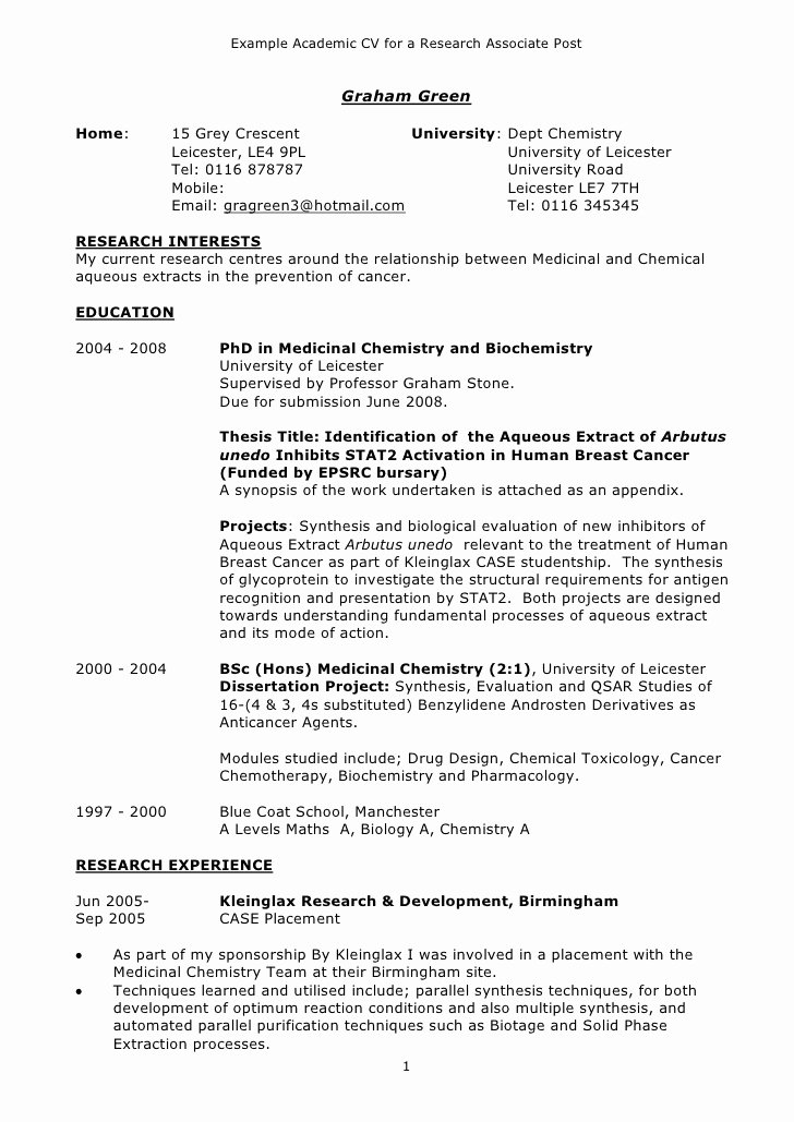Example Of Academic Resume Lovely Example Academic Cv