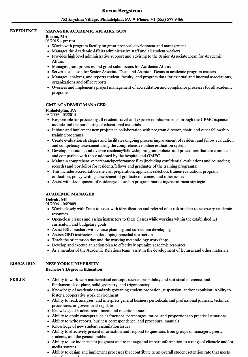 Example Of Academic Resume Luxury Academic Manager Resume Samples