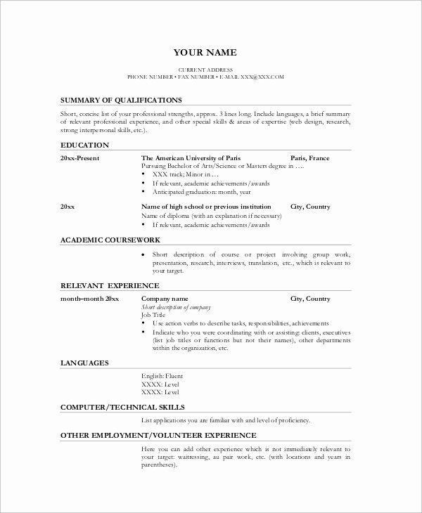 Example Of Academic Resume Luxury Sample Academic Resume 7 Examples In Word Pdf