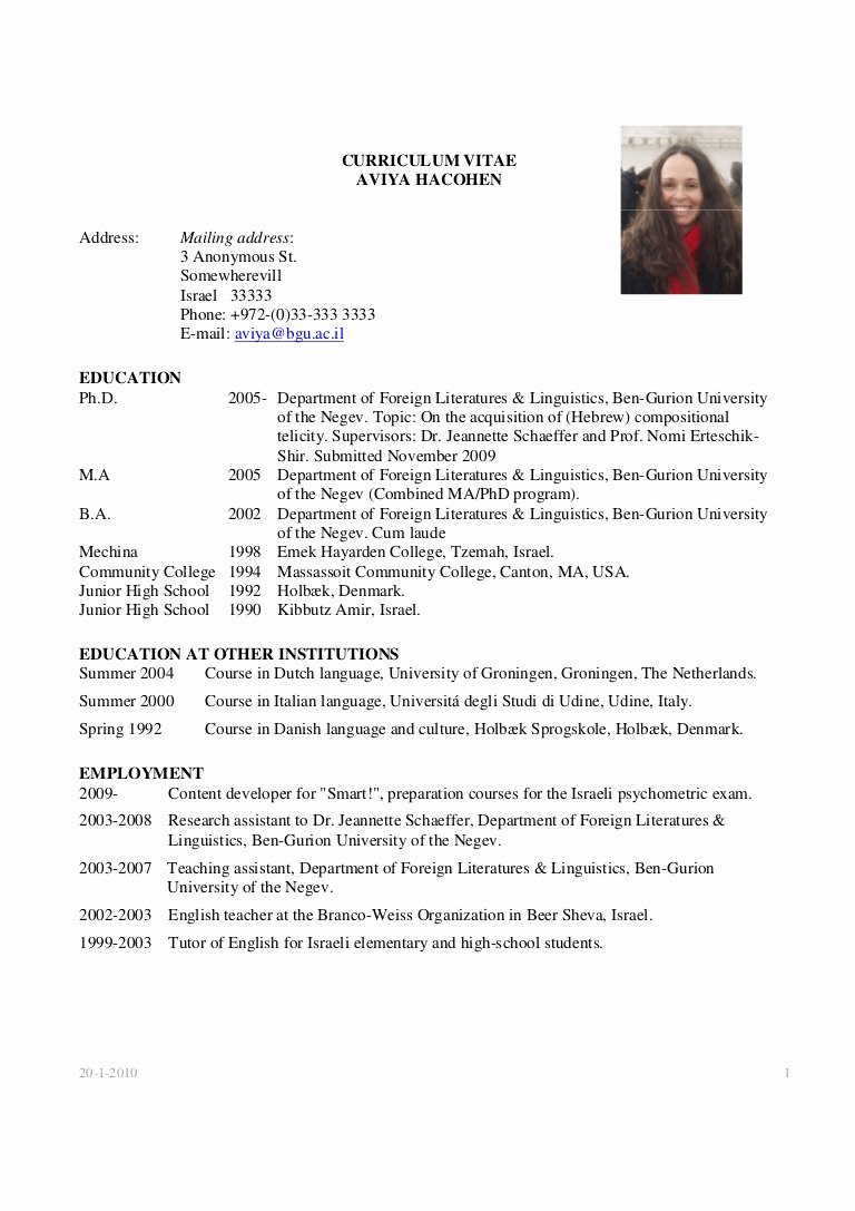 Example Of Academic Resume New Academic Cv Example