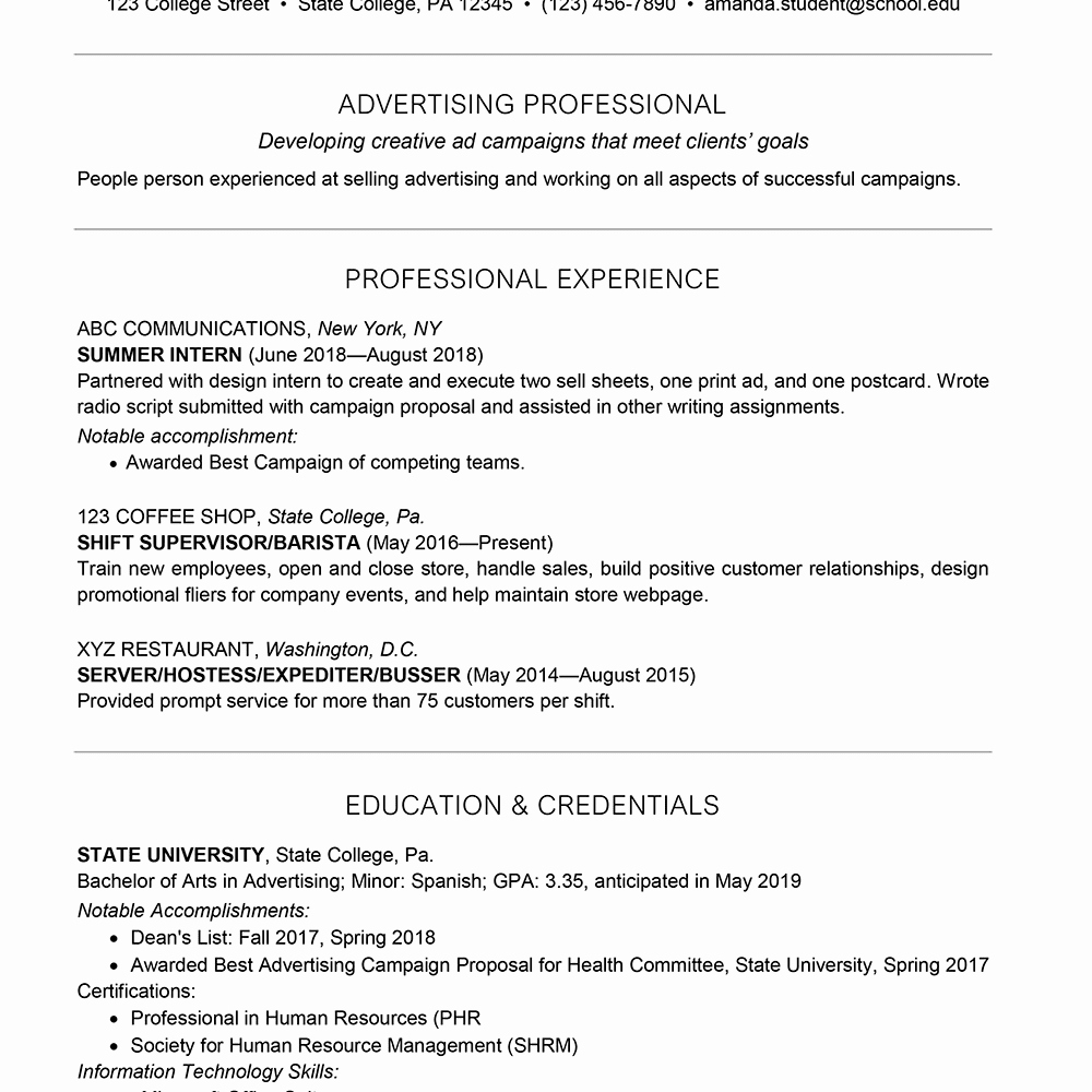 Example Of Academic Resume New College Student Resume Example
