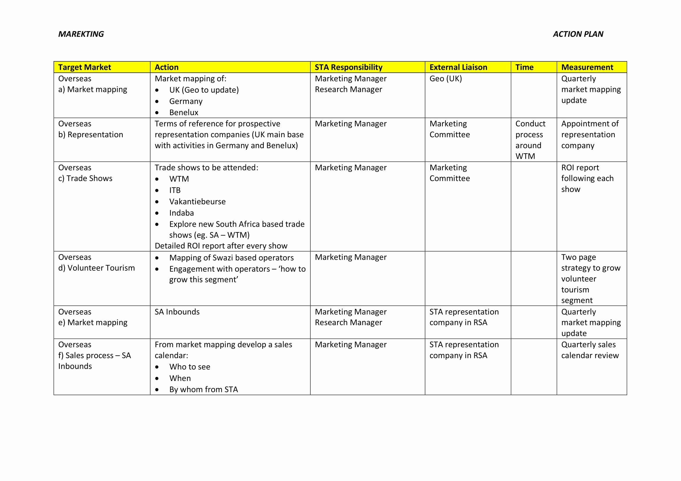 Example Of Action Plan Elegant 9 Marketing Action Plan Examples Pdf