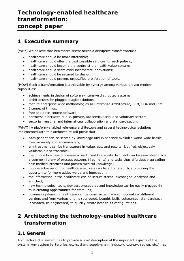 Example Of Concept Paper Best Of Technology Enabled Healthcare Transformation Concept Paper
