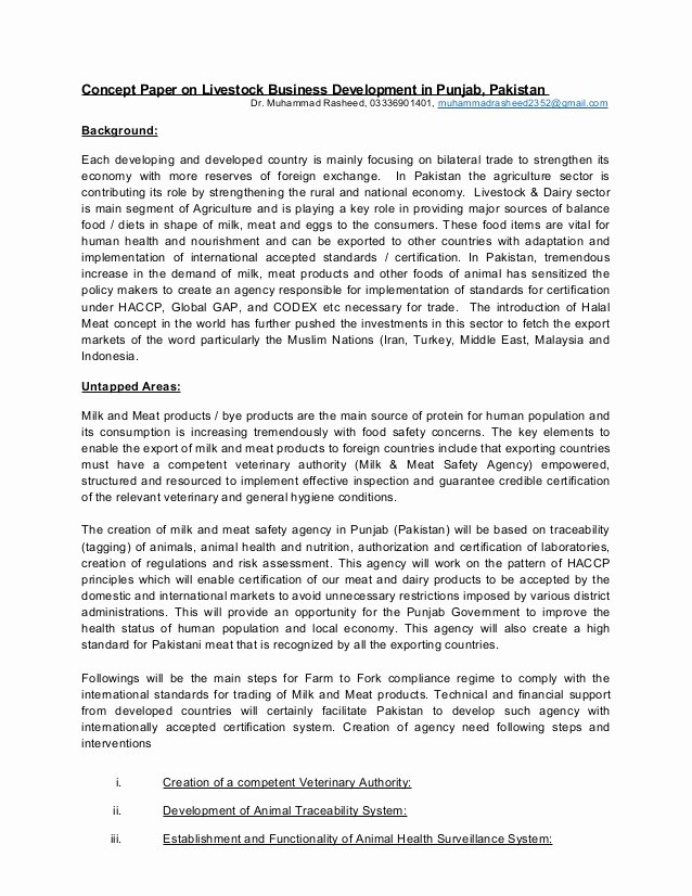 Example Of Concept Paper Inspirational Concept Paper On Livestock Busines