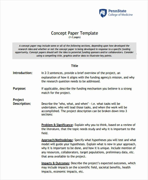 Example Of Concept Paper New 20 Research Paper Outlines
