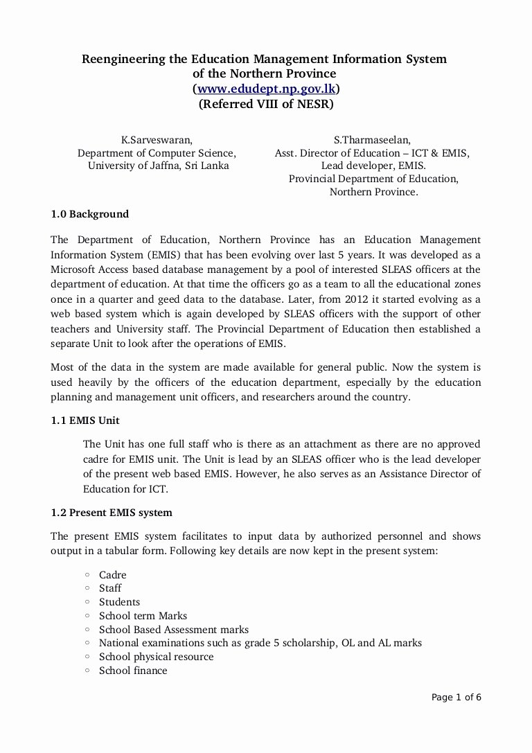 Example Of Concept Paper New Concept Paper for Educational Management Information System