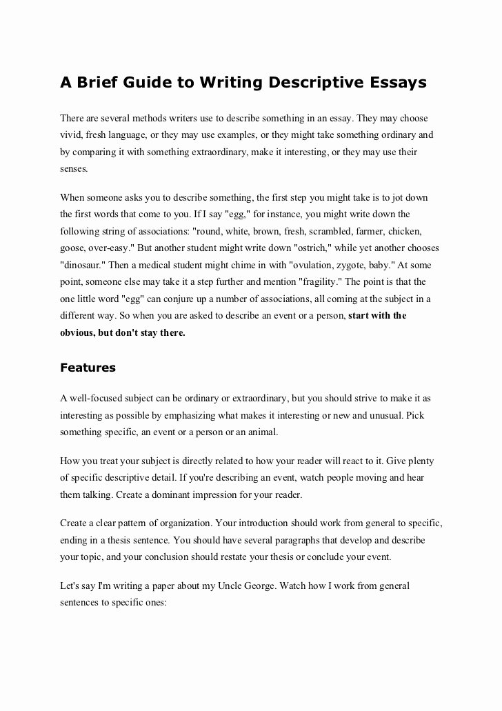 Example Of Descriptive Essay Awesome A Brief Guide to Writing Descriptive Essays