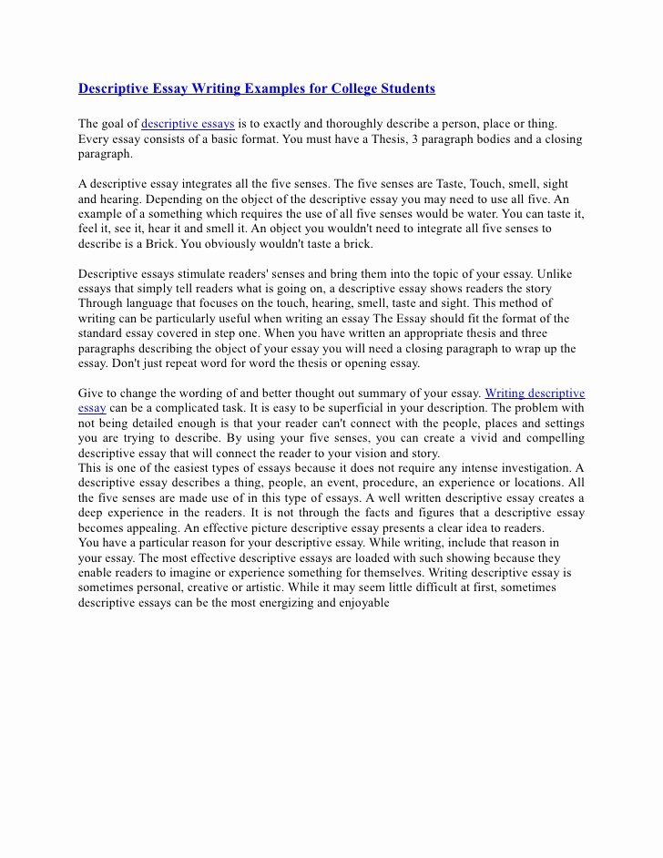 Example Of Descriptive Essay Best Of Descriptive Essay Writing Examples for College Students
