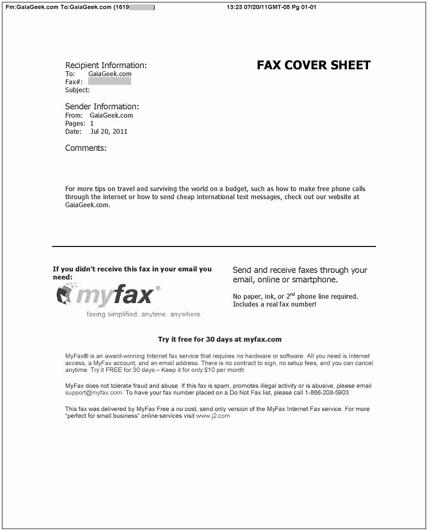 Example Of Fax Cover Sheet Lovely How to Send and Receive Faxes Line for Free – Gaiageek