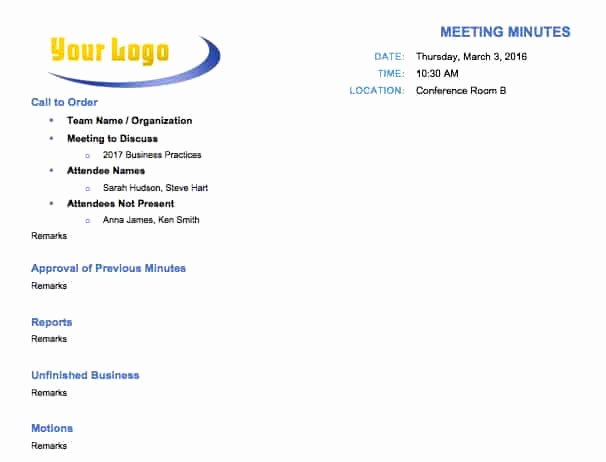 Example Of Meeting Minutes Awesome Free Meeting Minutes Template for Microsoft Word