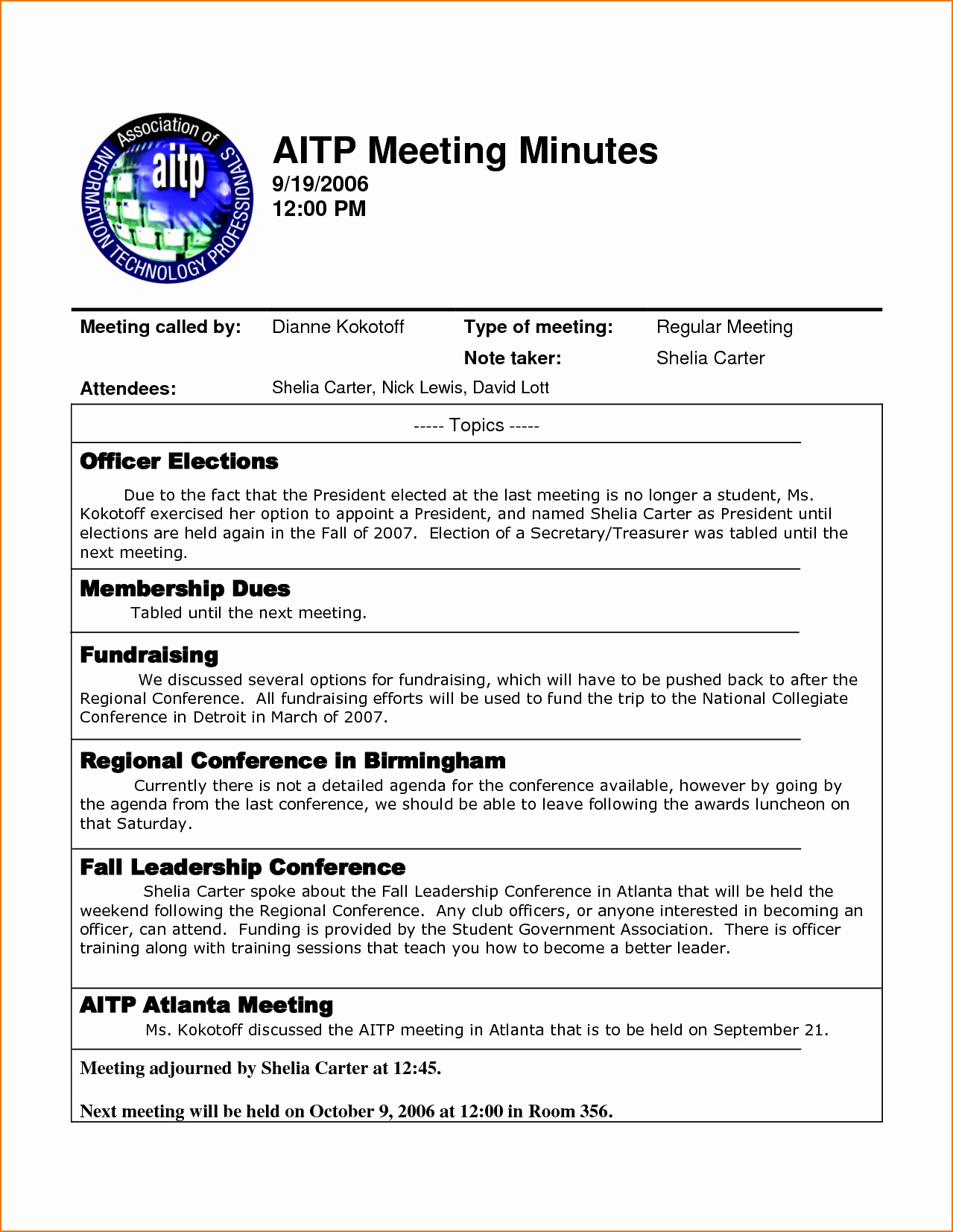Example Of Meeting Minutes Luxury 4 Sample Meeting Minutes Template