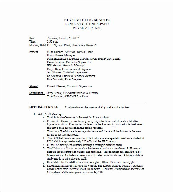 Example Of Meeting Minutes Luxury Staff Meeting Minutes Template 18 Free Word Excel Pdf