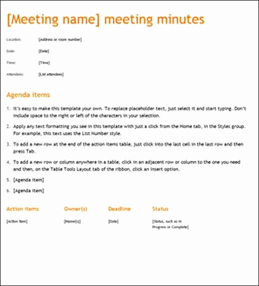 Example Of Meeting Minutes Unique Sample Meeting Minute Templates
