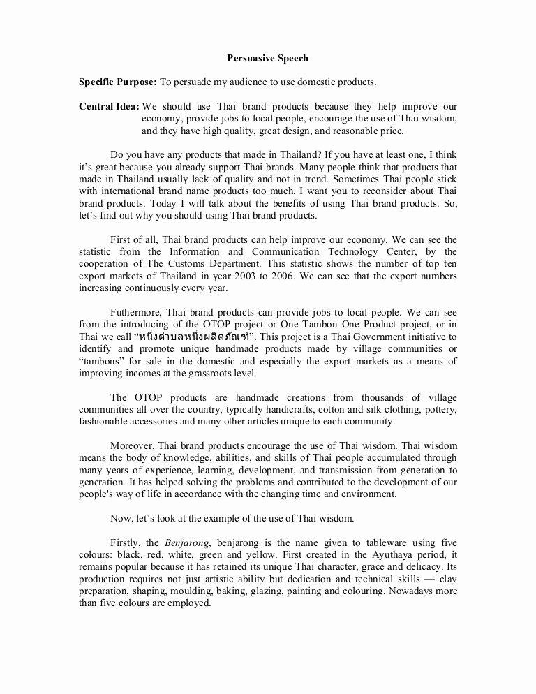 Example Of Persuasive Essay Elegant Persuasive Speech