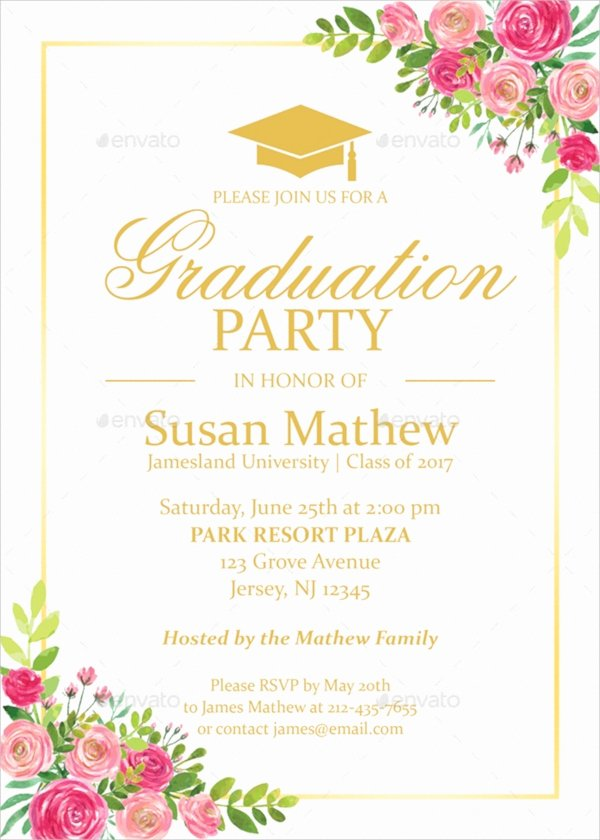 Examples Of Graduation Party Invitations Awesome 22 Sample Graduation Invitations Psd Vector Eps Word