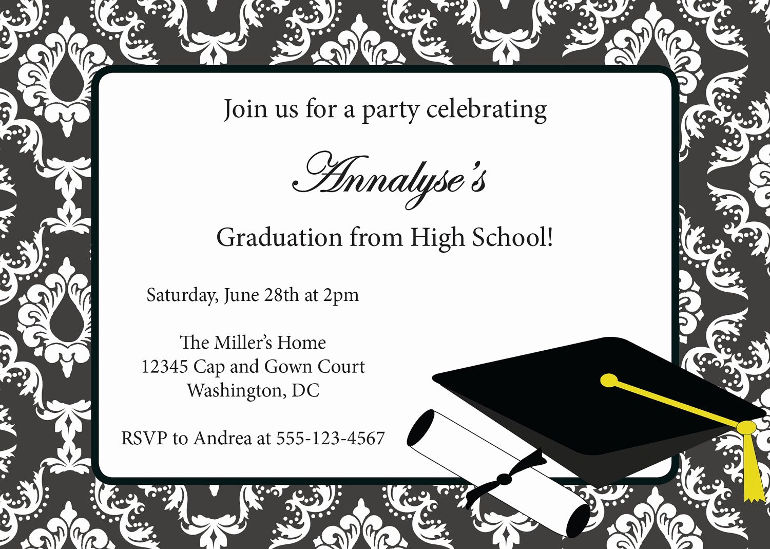 Examples Of Graduation Party Invitations Lovely Graduation Invitations Invitation Card for Graduation