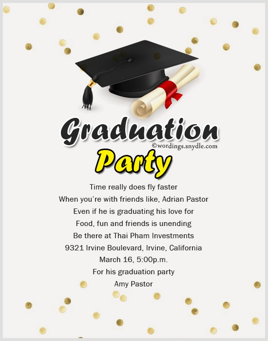 Examples Of Graduation Party Invitations Lovely Wording Archives Wordings and Messages