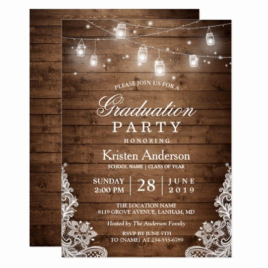 Examples Of Graduation Party Invitations Unique Rustic Wood Lace String Lights Graduation Party Card