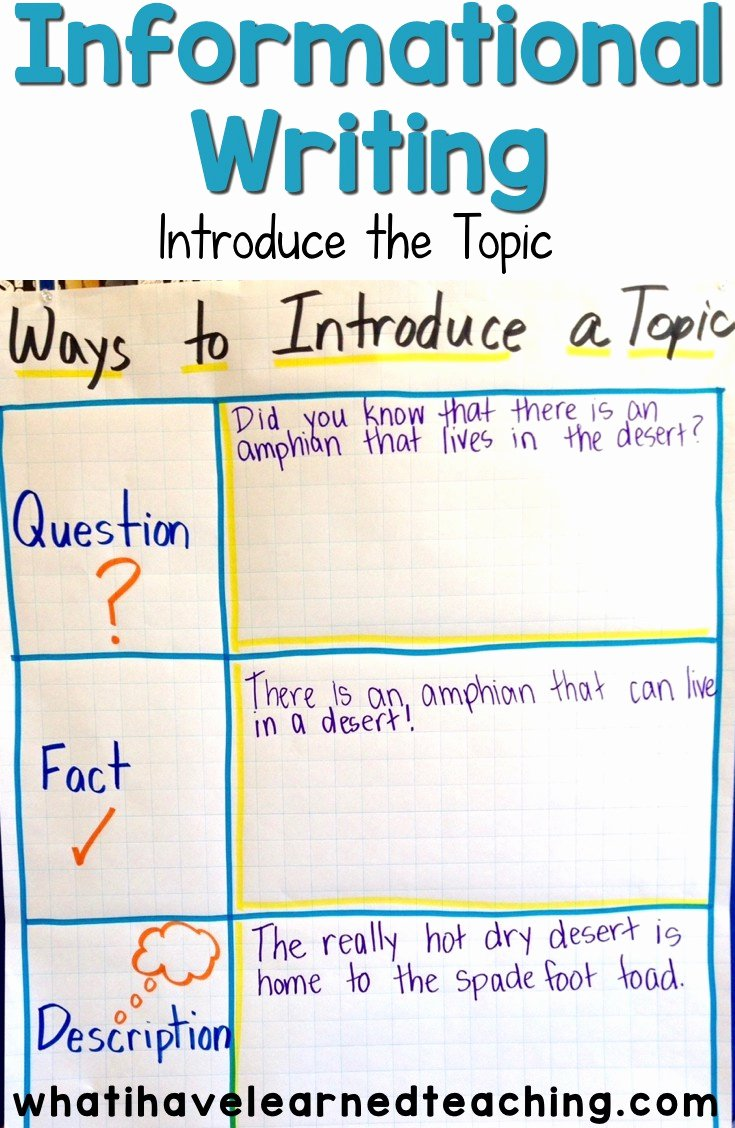 Examples Of Informative Writing Inspirational Introduce the topic Informational Writing Week 2
