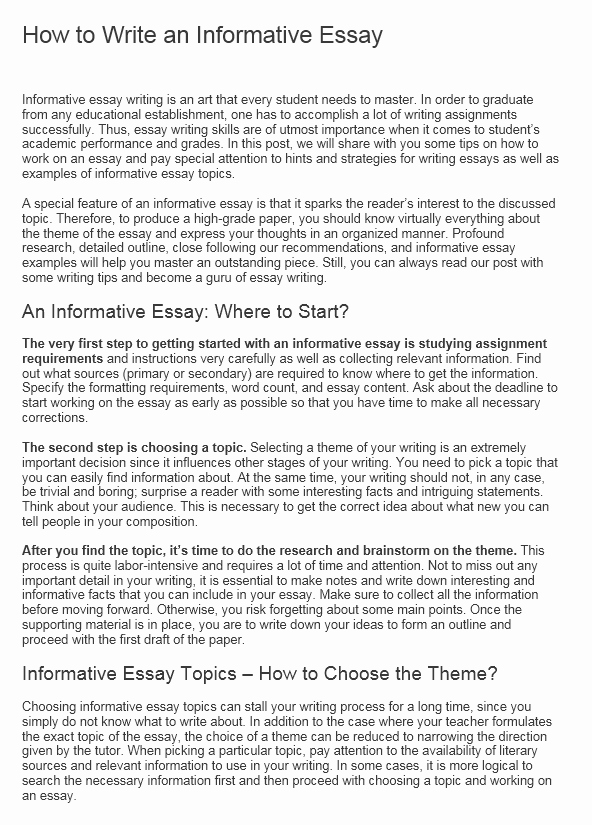 Examples Of Informative Writing Lovely Informative Essay Examples Samples Outline to Write An