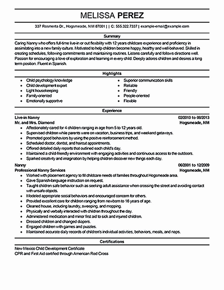 Examples Of Nanny Resumes Awesome Nanny Resume Sample Nanny Resume Examples are Made for