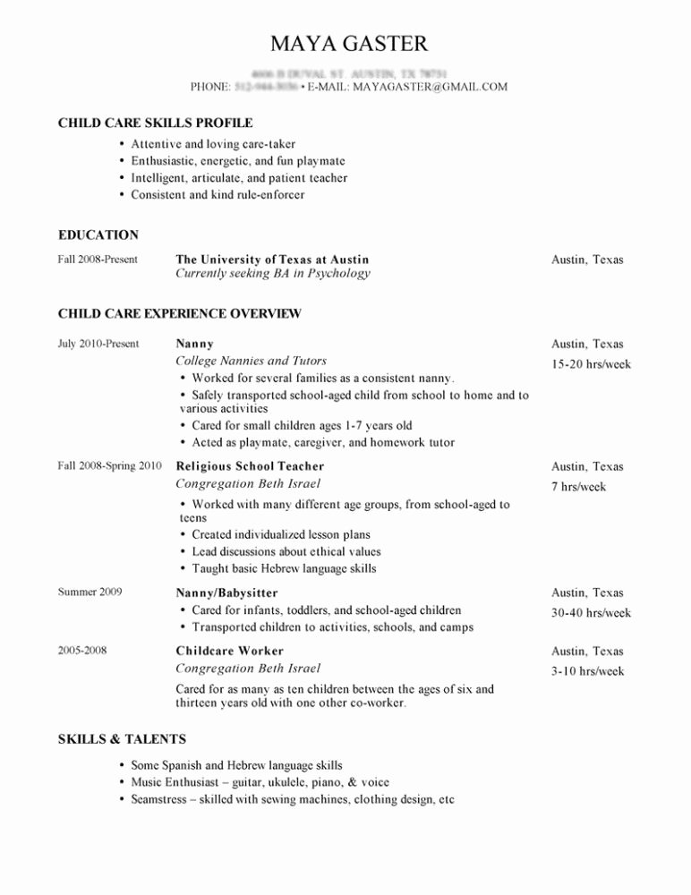 Examples Of Nanny Resumes Awesome Sample Nanny Resume Tips for Writing Nanny Resume