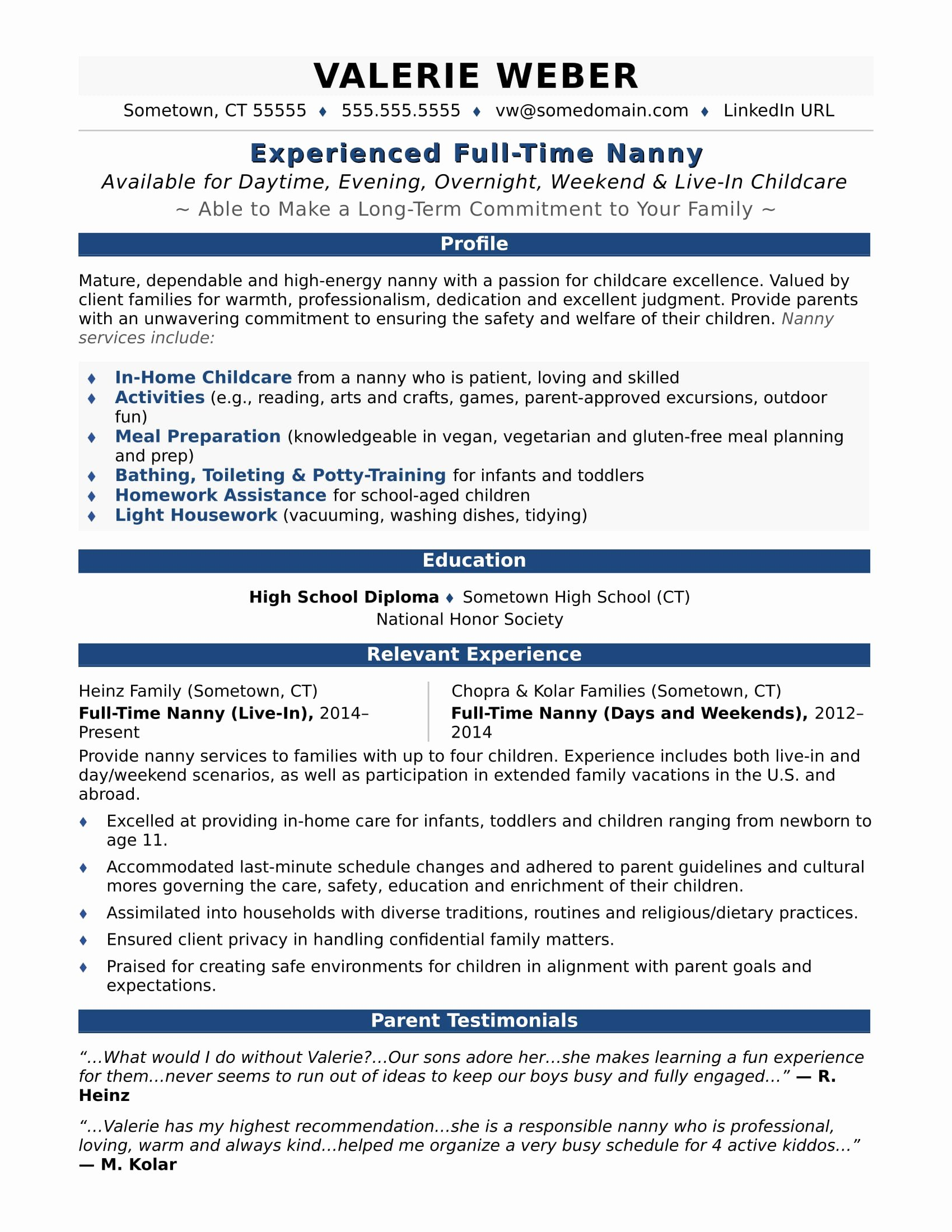 Examples Of Nanny Resumes Fresh Nanny Resume Sample