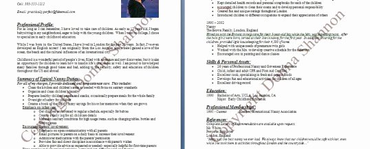Examples Of Nanny Resumes Fresh Sample Nanny Resume