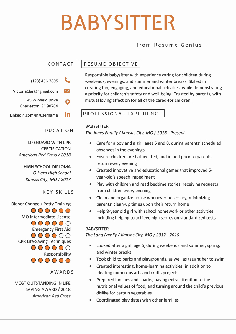 Examples Of Nanny Resumes Lovely Babysitter Resume Example & Writing Guide