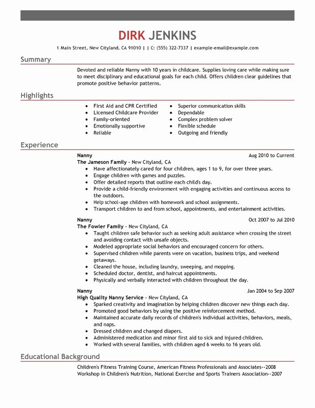 Examples Of Nanny Resumes Lovely Perfect Tips Write Nanny Resume Sample