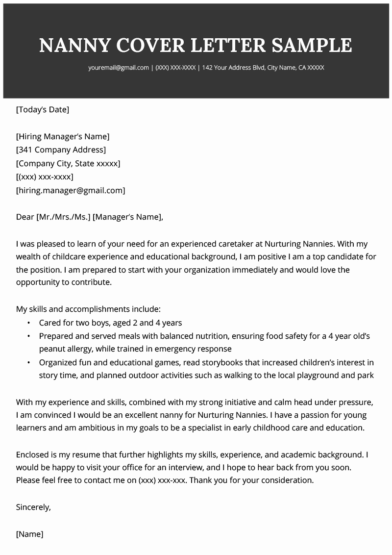 Examples Of Nanny Resumes Luxury Nanny Cover Letter Sample & Writing Tips