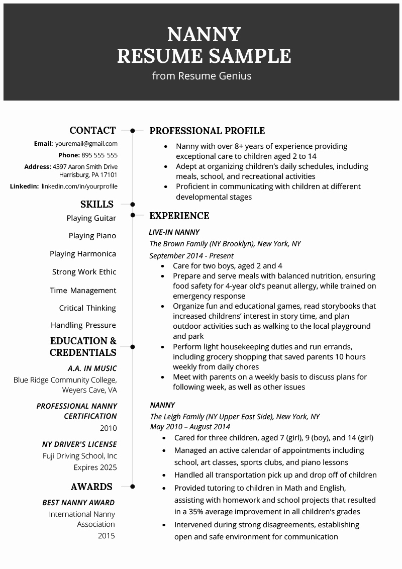 Examples Of Nanny Resumes Unique Nanny Resume Example & Writing Tips