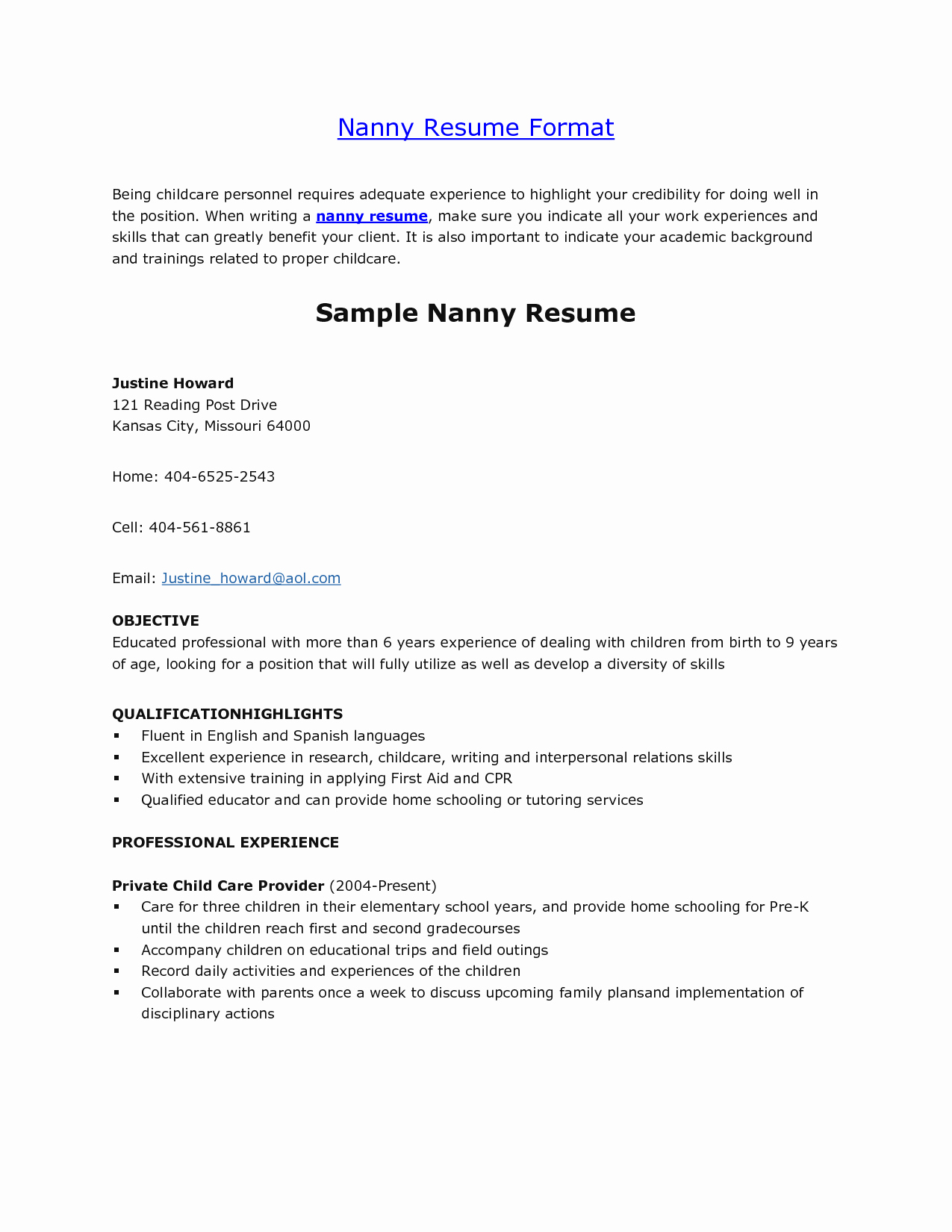 Examples Of Nanny Resumes Unique Nanny Resume Template