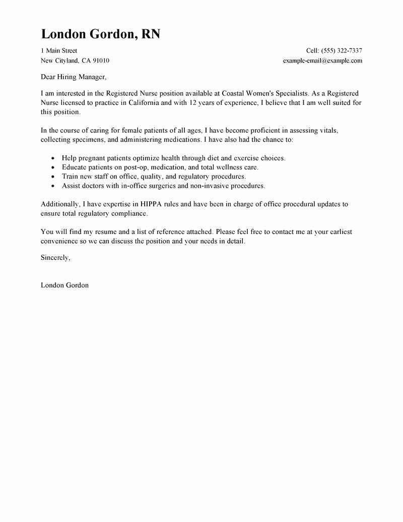 Examples Of Nursing Cover Letters Fresh Best Registered Nurse Cover Letter Examples