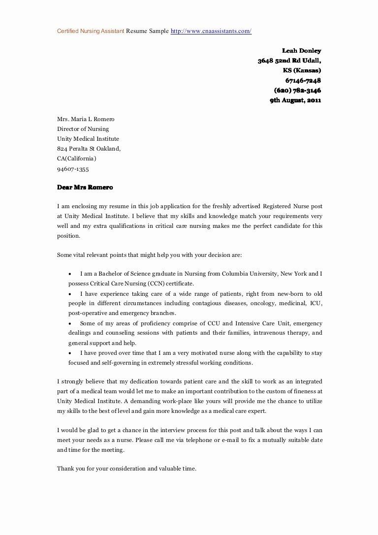 Examples Of Nursing Cover Letters Fresh Certified Nursing assistant Coverletter Sample