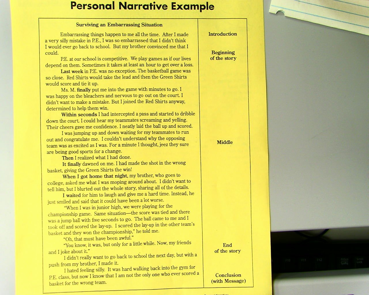 Examples Of Personal Narratives Beautiful Mr Bullis S Blog Personal Narrative Example
