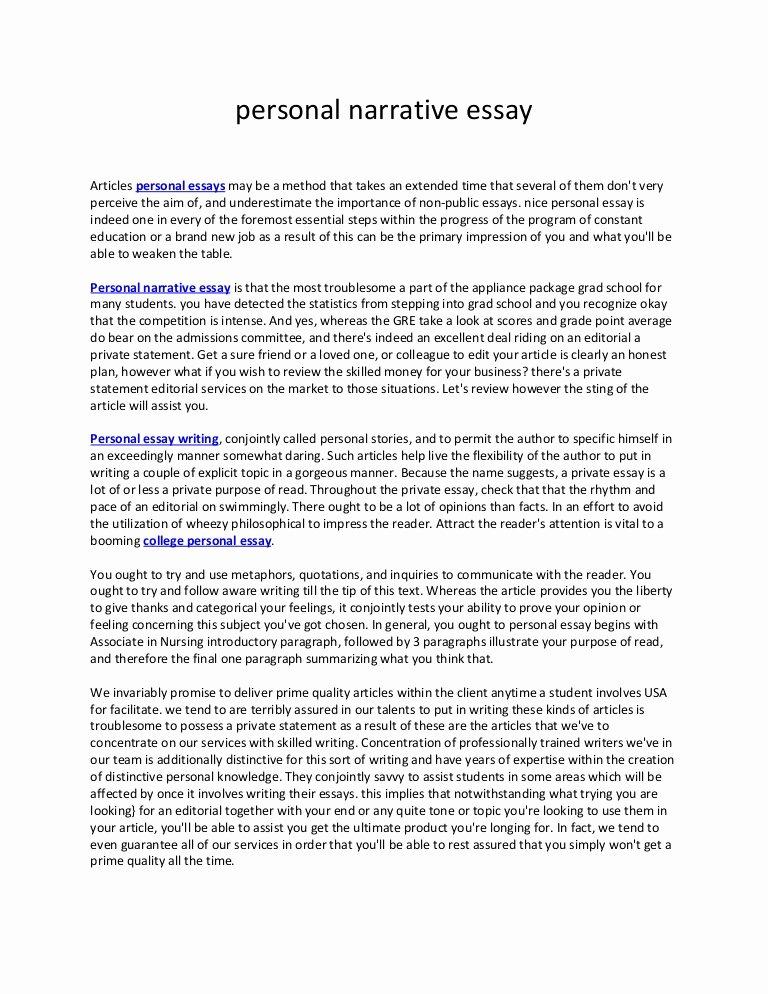Examples Of Personal Narratives Fresh Personal Narrative Essay