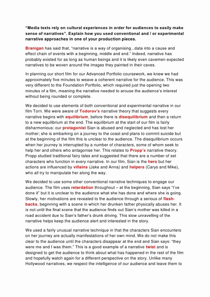 Examples Of Personal Narratives Lovely Example Of Applying Narrative