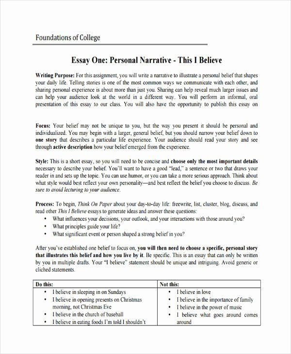 Examples Of Personal Narratives New Free 30 College Essay Examples & Samples In Pdf