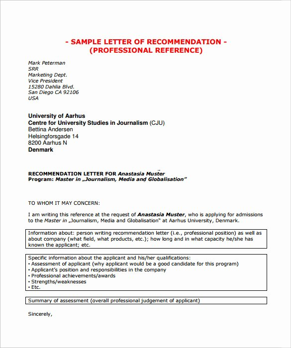 Examples Of Professional Reference Letters Fresh Sample Professional Letter Of Re Mendation 8 Download