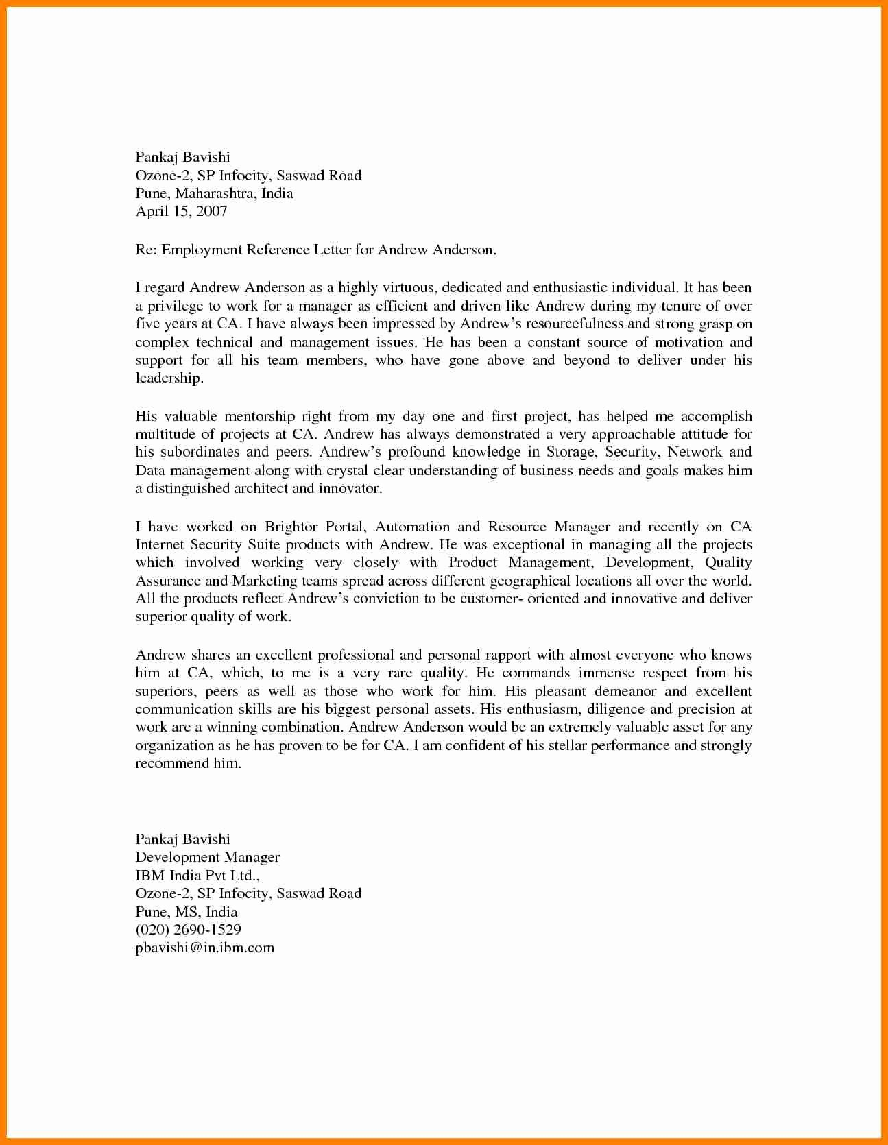 Examples Of Professional Reference Letters New 8 Professional Re Mendation Letter From Employer