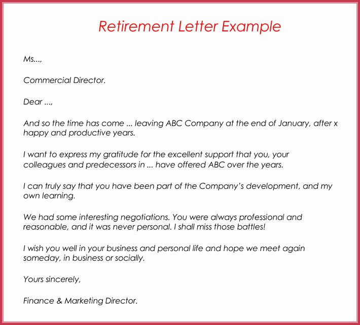 Examples Of Retirement Letters Fresh Retirement Letter Samples Examples formats & Writing Guide